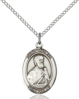 "SS St. Thomas the Apostle Oval Medal / 24"" Curb Chain"