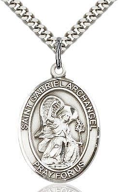 "SS St. Gabriel Oval Medal / 18"" Curb Chain"