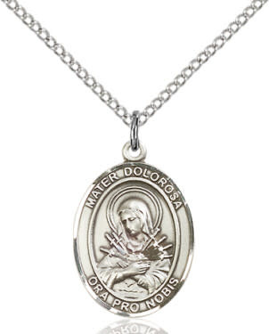"""SS Mater Dolorosa Oval Medal / 24"""" Curb Chain"""