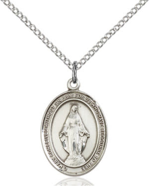 """SS Miraculous Oval Medal / 24"""" Curb Chain"""