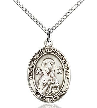 """SS Our Lady of Perpetual Help Medal / 24"""" Curb Chain"""
