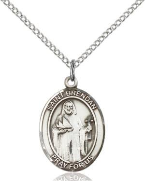 "SS St. Brendan Oval Medal / 24"" Curb Chain"