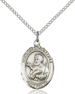 """SS St. Francis Xavier Oval Medal / 24"""" Curb Chain"""