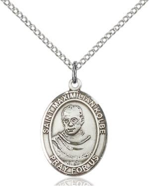 "SS St. Maximilian Kolbe Oval Medal / 24"" Curb Chain"