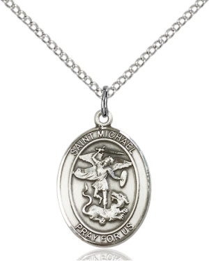 """SS St. Michael Oval Medal / 24"""" Curb Chain"""