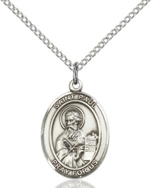 "SS St. Paul the Apostle Oval Medal / 24"" Curb Chain"