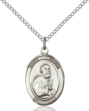 """SS St. Peter Oval Medal / 24"""" Curb Chain"""