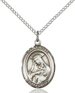 """SS St. Rose of Lima Oval Medal / 24"""" Curb Chain"""