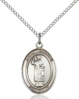 """SS St. Stephen Oval Medal / 24"""" Curb Chain"""