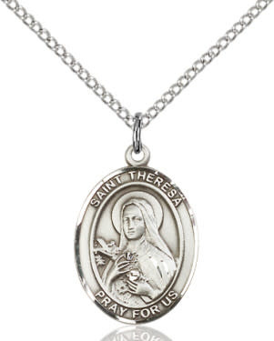 """SS St. Therese de Lisieux Oval Medal / 24"""" Curb Chain"""