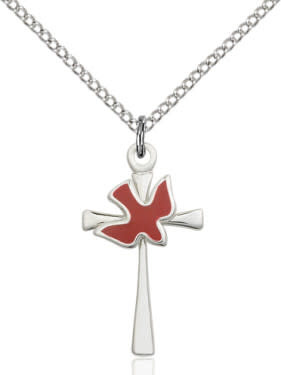 """SS Cross-Red Holy Spirit / 24"""" Curb Chain"""