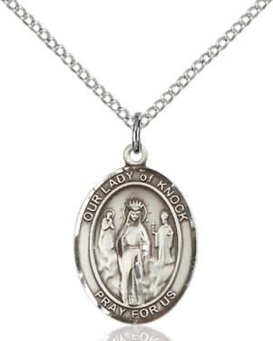"SS Our Lady of Knock Oval Medal / 24"" Curb Chain"