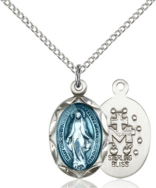 "SS Miraculous Blue Medal / 18"" Curb Chain"