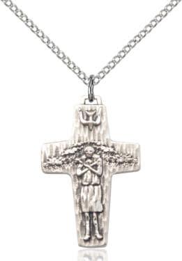 "SS Small Papal Crucifix / 18"" Curb Chain"