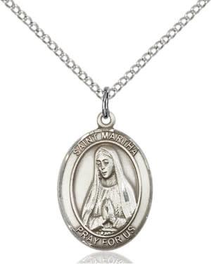 "SS St. Martha Oval Medal / 18"" Curb Chain"
