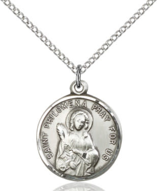 """SS St. Philomena Round Medal / 24"""" Curb Chain"""