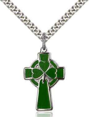 "SS Green Celtic Shamrock Cross / 24"" Curb Chain"