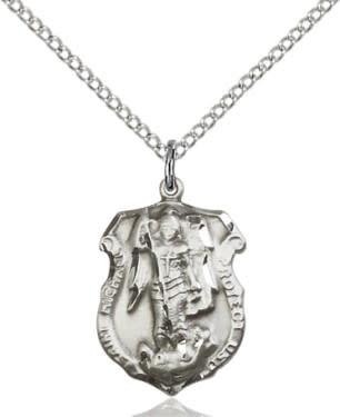 "SS St. Michael Shield Medal / 18"" Curb Chain"
