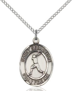 "SS St. Sebastian Baseball Oval Medal / 24"" Curb Chain"