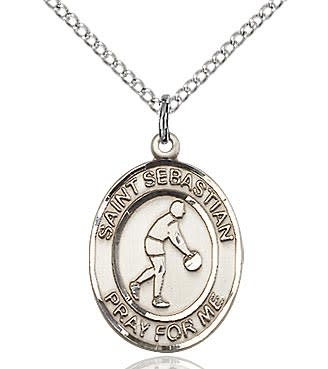 "SS St. Sebastian Basketball Oval Medal / 24"" Curb Chain"