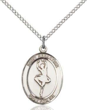 "SS St. Sebastian Dance Oval Medal / 24"" Curb Chain"
