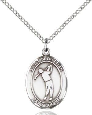 """SS St. Sebastian Golf Oval Medal / 24"""" Curb Chain"""