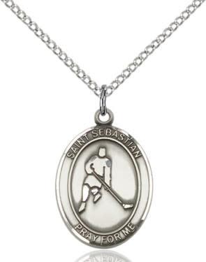 """SS St. Sebastian Ice Hockey Oval Medal/ 24"""" Curb Chain"""