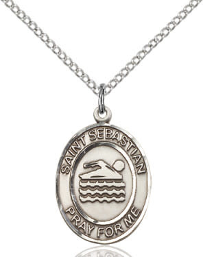 "SS St. Sebastian Swimming Oval Medal / 24"" Curb Chain"