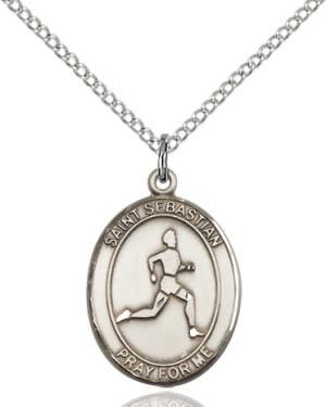 "SS St. Sebastian Track & Field Oval Medal / 24"" Curb Chain"
