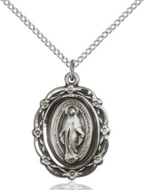 "SS Miraculous Medal / 24"" Curb Chain"