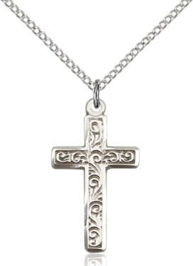 """SS Cross Engraved / 18"""" Curb Chain"""