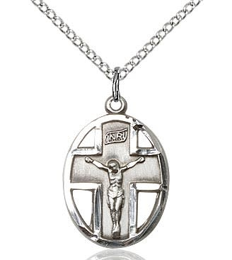 "SS Crucifix Medal / 18"" Sterling Curb Chain"