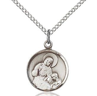"""SS St. Ann Medal / 18"""" Sterling Curb Chain"""