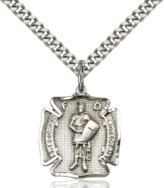 "SS St. Florian Shield Medal / 24"" Curb Chain"