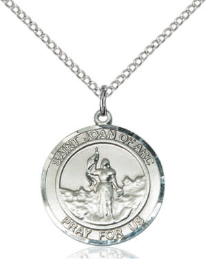 "SS St. Joan of Arc Round Medal / 18"" Curb Chain"