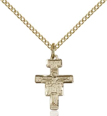 """GF San Damiano Crucifix / 18"""" Curb Chain"""