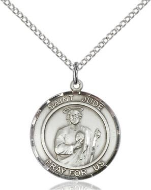 """SS St. Jude Thaddeus Round Medal / 24"""" Curb Chain"""
