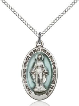 """SS Blue Miraculous Medal / 24"""" Curb Chain"""