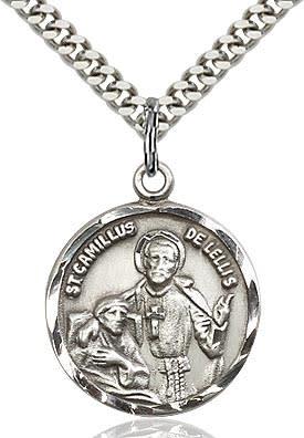 "SS St. Camillus Round Medal / 18"" Curb Chain"