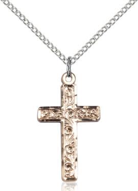 """GF Cross Engraved / 18"""" Curb Chain"""