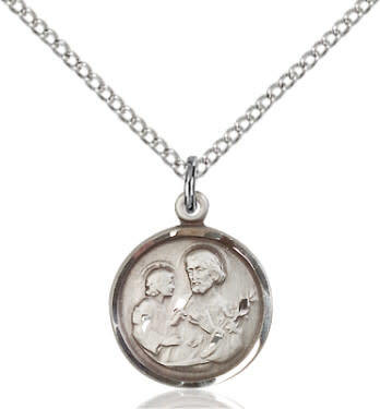 """SS St. Joseph Round Medal / 18"""" Sterling Curb Chain"""