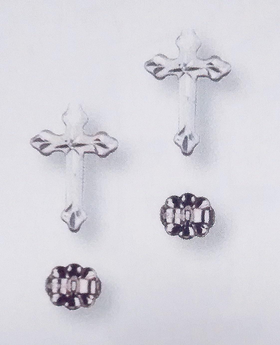 SS Cross Post Earring Engraved