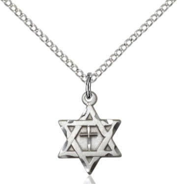 "SS Star of David with Cross / 18"" Sterling Curb Chain"