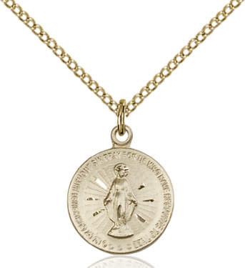 """GF Miraculous Medal / 18"""" Curb Chain"""