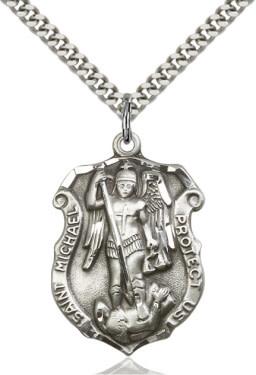 "SS St. Michael Shield Medal / 24"" Curb Chain"