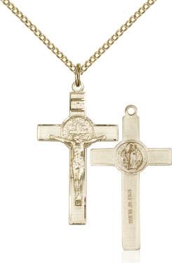 "GF Benedict Crucifix Engraved / 18"" Curb Chain"