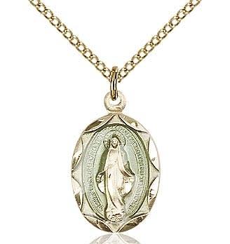"""GF Blue Miraculous Medal / 18"""" Curb Chain"""