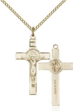 "GF Benedict Crucifix Engraved / 24"" Curb Chain"