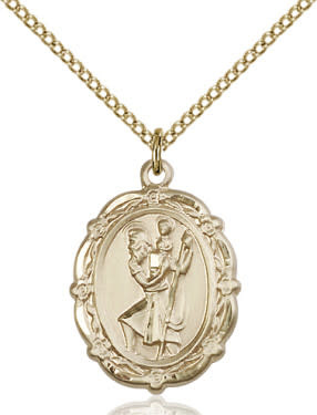 "GF St. Christopher Medal / 18"" Curb Chain"