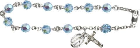 Rosary Bracelet - Austrian Crystal Aqua AB / SS chain